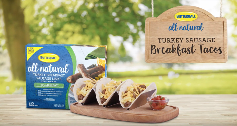 Try this delicious Butterball® All Natural Turkey Sausage Breakfast Tacos